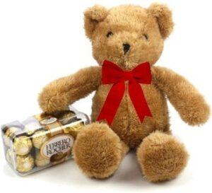 oso de peluche y chocolates