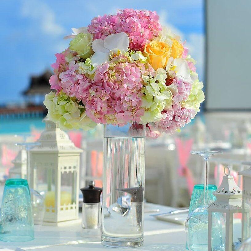 centro de mesa hortensias