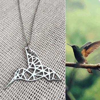 Dije de colibrí origami de acero inoxidable