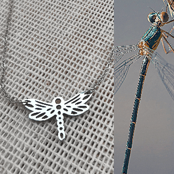 dije de libélula origami en acero inoxidable