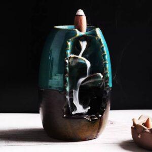Porta incienso en cascada de cerámica azul
