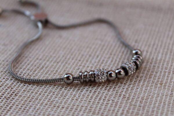 pulsera de acero inoxidable con cristales